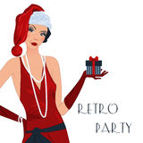 Retro flappper christmas girl. Retro background with flapper girl,  retro Christmas or New Year party invitation design in 20's style Royalty Free Stock Image