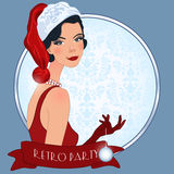 Retro flappper christmas girl. Retro background with flapper girl,  retro Christmas or New Year party invitation design in 20's style Stock Photography