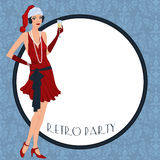 Retro flappper christmas girl. Retro background with flapper girl,  retro Christmas or New Year party invitation design in 20's style Royalty Free Stock Photography