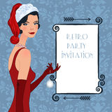 Retro flappper christmas girl Royalty Free Stock Images