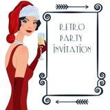 Retro flappper christmas girl. Retro background with flapper girl,  retro Christmas or New Year party invitation design in 20's style Royalty Free Stock Photo