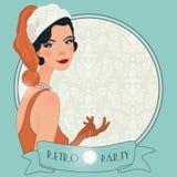 Retro flappper christmas girl. Retro background with flapper girl,  retro Christmas or New Year party invitation design in 20's style Stock Photos
