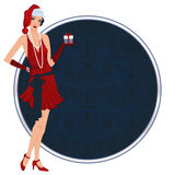 Retro flappper christmas girl Royalty Free Stock Image