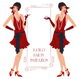 Retro flappper girl. Retro background with flapper girl,  retro party invitation design in 20's style Stock Photo