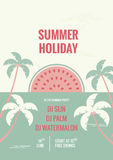 Retro flat background. Tropical summer holiday flyer with sun Royalty Free Stock Photos