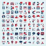 Retro flat communication icons set. Cartoon  illustration Royalty Free Stock Image