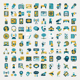 Retro flat communication icons set Royalty Free Stock Photos