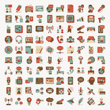 Retro flat communication icons set Stock Image