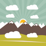 Retro Flat Design Nature Landscape Illustration Royalty Free Stock Photography