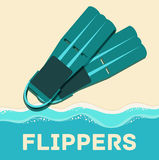 Retro flat diving tools icon concept. vector Royalty Free Stock Image