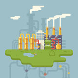 Retro Flat Factory Refinery Plant Manufacturing Royalty Free Stock Photography