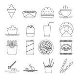 Retro Flat Fast Food Icons line art symbols Set Vector Illustration Stock Photos