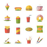 Retro Flat Fast Food Icons and Symbols Set Vector Illustration Stock Photos