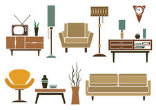 Retro flat furniture and interior icons Royalty Free Stock Images