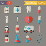Retro Flat Medical Icons and Symbols Set vector. Retro Flat Medical Icons and Symbols Set Stock Images