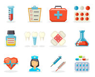 Retro Flat Medical  Polygonal Icons Set Design Vector Illustration Royalty Free Stock Photography