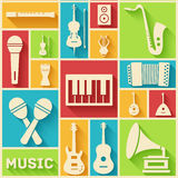 Retro flat music instruments icons pictograms Stock Photography