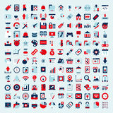 Retro flat network icon set Stock Image