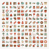 Retro flat network icon set Royalty Free Stock Photos