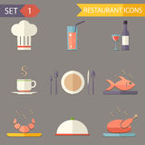 Retro flat restaurant Icons and Symbols set vector Stock Image