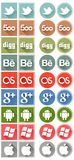 Retro flat social media icons set 2 Stock Photography