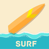 Retro flat surf concept. vector illustration Stock Photography