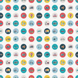 Retro flat transport seamless pattern Stock Images
