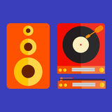 Retro flat turntable and speaker illustration Royalty Free Stock Photography