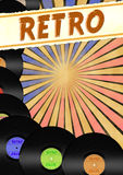 Retro flayer template with retro sign and vinyls Royalty Free Stock Images