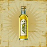 Retro Fles van de Olijfolie Royalty-vrije Stock Foto's