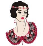 Retro flicka för klaff för partiinbjudandesign (20-talstil) Utsmyckad beståndsdelmodell Sken för blommamodetryck från briljanta s stock illustrationer