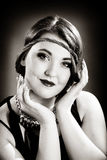 retro flickastående Arkivbild