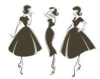 retro flickor royaltyfri illustrationer