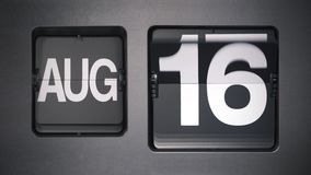Calendar showing August. stock footage