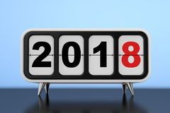 Retro Flip Clock con un segno da 2018 nuovi anni rappresentazione 3d Fotografia Stock Libera da Diritti