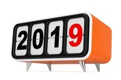 Retro Flip Clock con un segno da 2019 nuovi anni rappresentazione 3d illustrazione vettoriale