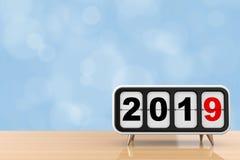 Retro Flip Clock con un segno da 2019 nuovi anni rappresentazione 3d illustrazione di stock