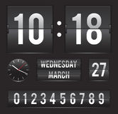 Retro flip clock with date and dual timer. Retro flip clock with date and analog dial timer vector template Stock Photography