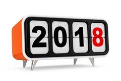 Retro Flip Clock med tecknet för nytt år 2018 framförande 3d royaltyfri illustrationer