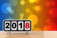 Retro Flip Clock med tecknet för nytt år 2018 framförande 3d stock illustrationer