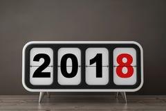 Retro Flip Clock med tecknet för nytt år 2018 framförande 3d vektor illustrationer