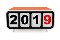 Retro Flip Clock med tecknet för nytt år 2019 framförande 3d vektor illustrationer
