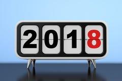 Retro- Flip Clock mit neues Jahr 2018 Zeichen Wiedergabe 3d Lizenzfreie Stockfotografie