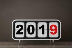 Retro- Flip Clock mit neues Jahr 2019 Zeichen Wiedergabe 3d stock abbildung