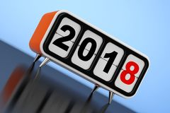 Retro Flip Clock with 2018 New Year Sign. 3d Rendering. Retro Flip Clock with 2018 New Year Sign on a blue background. 3d Rendering Stock Photos