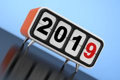 Retro Flip Clock with 2019 New Year Sign. 3d Rendering. Retro Flip Clock with 2019 New Year Sign on a blue background. 3d Rendering royalty free illustration