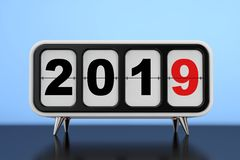 Retro Flip Clock with 2019 New year Sign. 3d Rendering. Retro Flip Clock with 2019 New year Sign on a blue background. 3d Rendering stock illustration