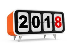 Retro Flip Clock with 2018 New year Sign. 3d Rendering. Retro Flip Clock with 2018 New year Sign on a white background. 3d Rendering Stock Photos