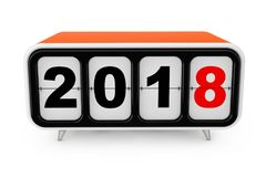 Retro Flip Clock with 2018 New year Sign. 3d Rendering. Retro Flip Clock with 2018 New year Sign on a white background. 3d Rendering Royalty Free Stock Photo