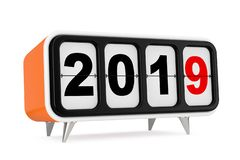 Retro Flip Clock with 2019 New year Sign. 3d Rendering. Retro Flip Clock with 2019 New year Sign on a white background. 3d Rendering stock illustration